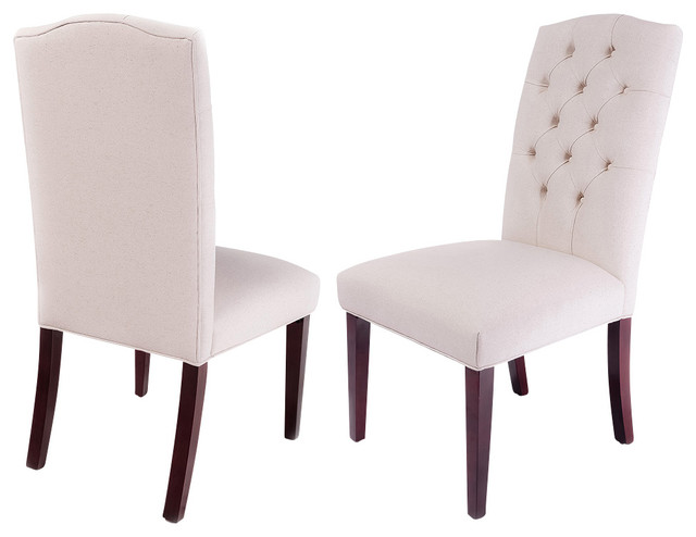 Clark Tufted Back Fabric Dining Chairs, Set Of 2.