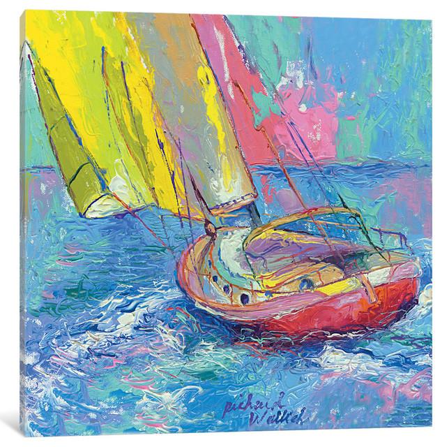 """Sailboat"" by Richard Wallich, Canvas Print, 37x37"""