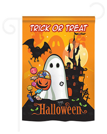 Halloween Little Ghost 2 Sided Impression Garden Flag Contemporary Flags And Flagpoles By Breeze Decor Houzz