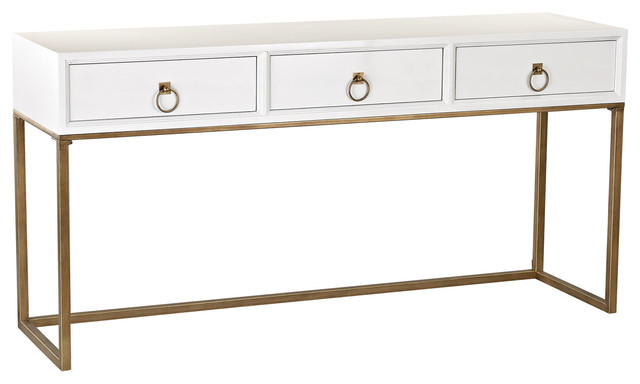 Console Table, White And Gold.