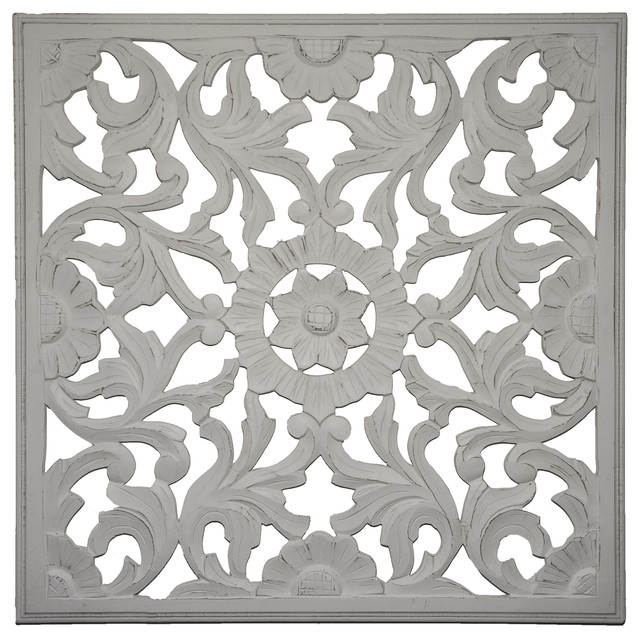 Zaria Handcrafted Wall Medallion Distressed White