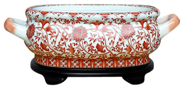Unique Chinese Orange/Coral and White Porcelain Foot Bath Basin With Base