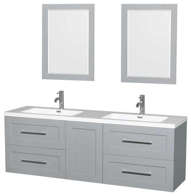 """Olivia 72"""" Double Vanity, Acrylic Resin Top, Integrated ..."""
