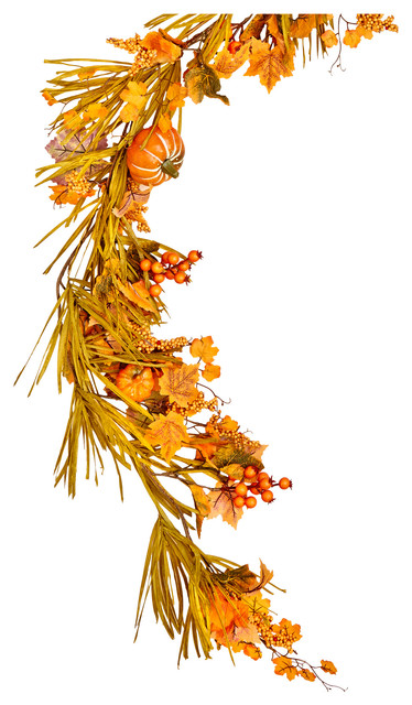 "60"" Fall Garland With Long Grasses, Berries, Pumpkins And Leaves."