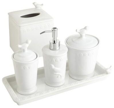 Bathroom Accessories White white bird stoneware bath accessories
