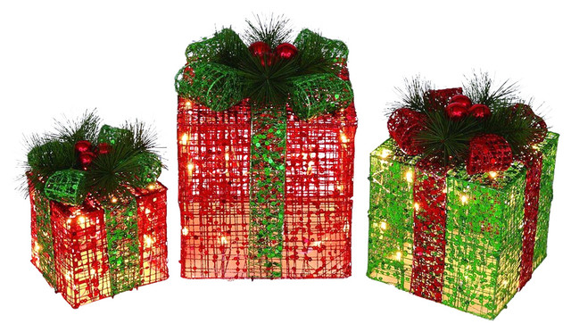 Christmas Gift Packages.Lighted Christmas Gift Packages Outdoor Decorations 3 Piece Set