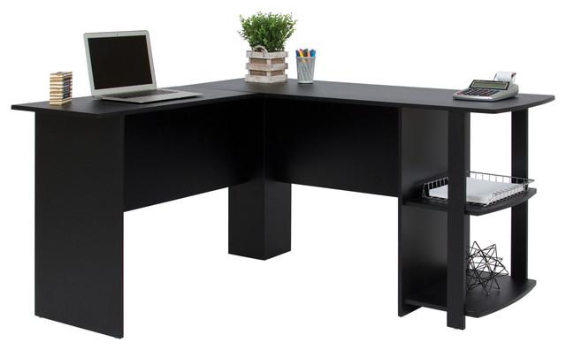 L-Shaped Corner Computer Office Desk Furniture- Black.