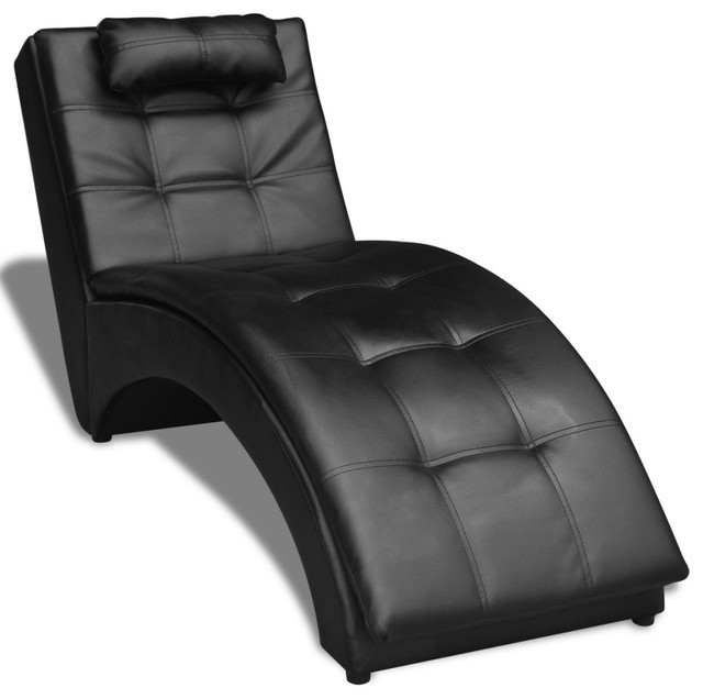 vidaxl chaise longue with pillow artificial leather black black - Indoor Chaise Lounge Chairs