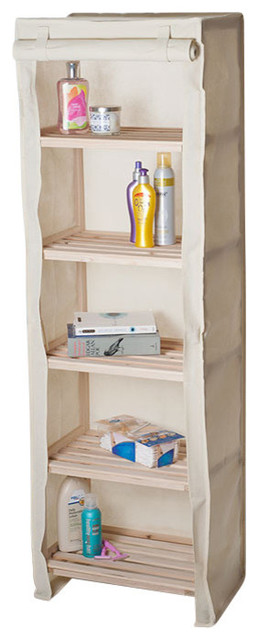 Lavish Home 3 Tier Light Wood Shelf With Removable Cover - Contemporary - Bathroom Cabinets And ...