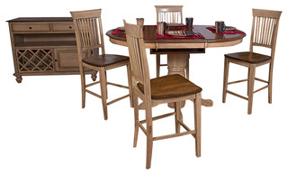 Sunset Trading 5-Piece Brook Round or Oval Butterfly Leaf Pub Table Set