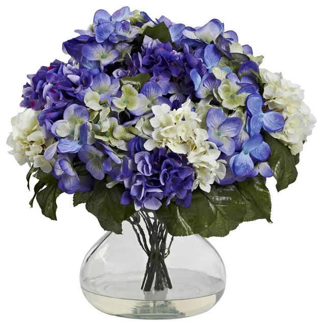 Hydrangea With Large Vase Contemporary Artificial Flower