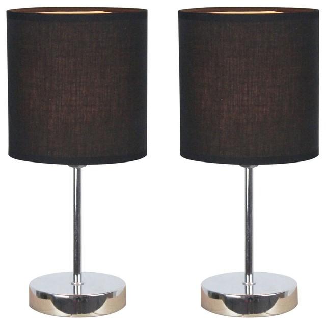 mini basic table lamps set of 2 black shade contemporary lamp sets. Black Bedroom Furniture Sets. Home Design Ideas