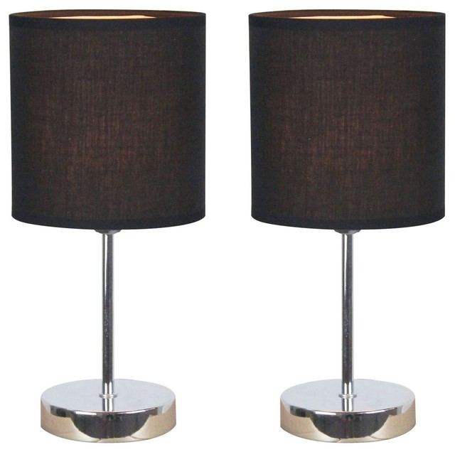 Simple Designs Chrome Mini Basic Table Lamps, Set Of 2, Black Shade