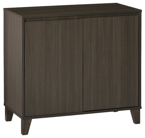 Anitra Oak Gray Wood Modern 2 Door Cabinet Entryway Console Table