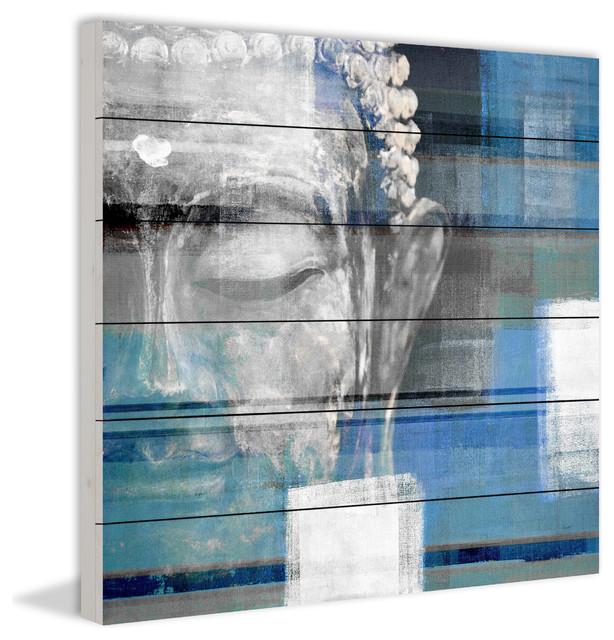 Blue Buddha Painting Print, 40x40.