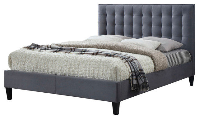 Becky Upholstered Bed Frame, Double, Grey