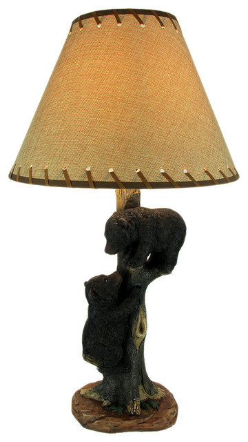 Superbe 2 Bear Cubs Playing On Tree Rustic Wildlife Table Lamp   Rustic   Table  Lamps   By Zeckos