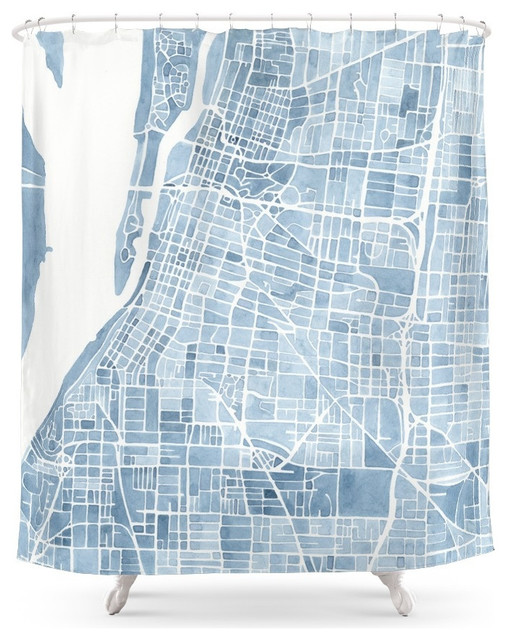 society6 memphis tennessee blueprint watercolor map shower curtain
