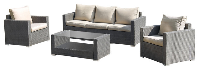 4 Piece Outdoor Patio Wicker Sofa Conversation Set