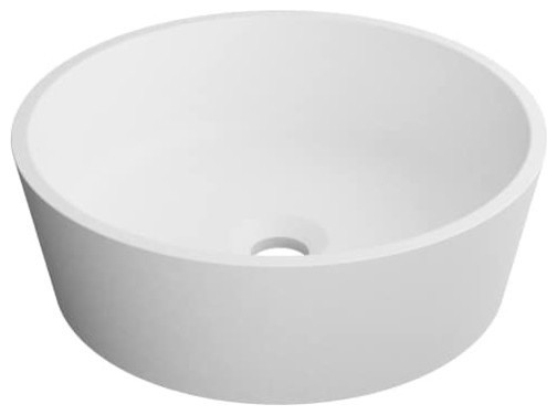 Kraus Natura Round Vessel Composite Sink With Matte Finish & Nano Coating, White.