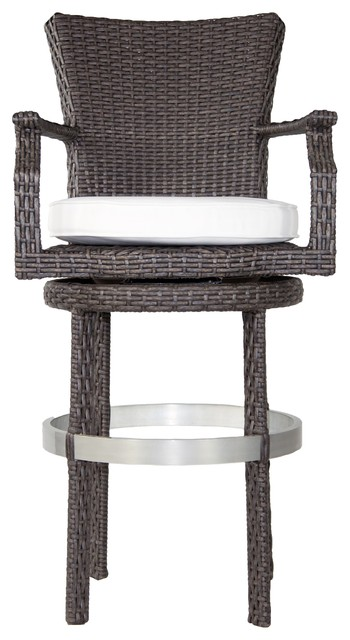 Signature Swivel Round Barstool with Arms Canvas Air Blue contemporary outdoor bar