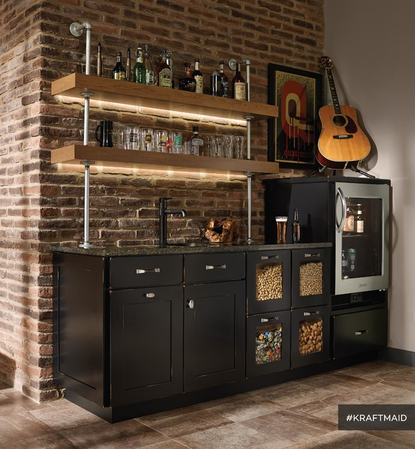 garage room design ideas - KraftMaid Cherry Kitchen Bar Area with LED Lighting