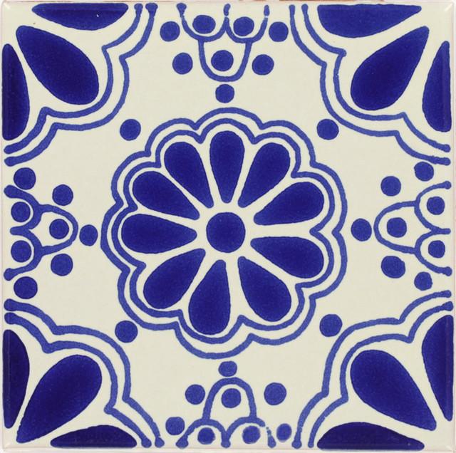 Handmade Tierra Y Fuego Ceramic Tile, Blue Lace, Set Of 9.