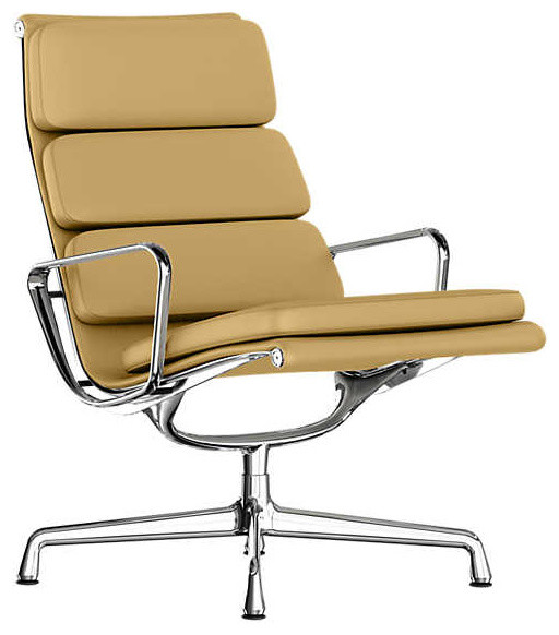 Wonderful Eames Soft Pad Lounge Chair, Swivel Base By Herman Miller, Honey Leather  Contemporary