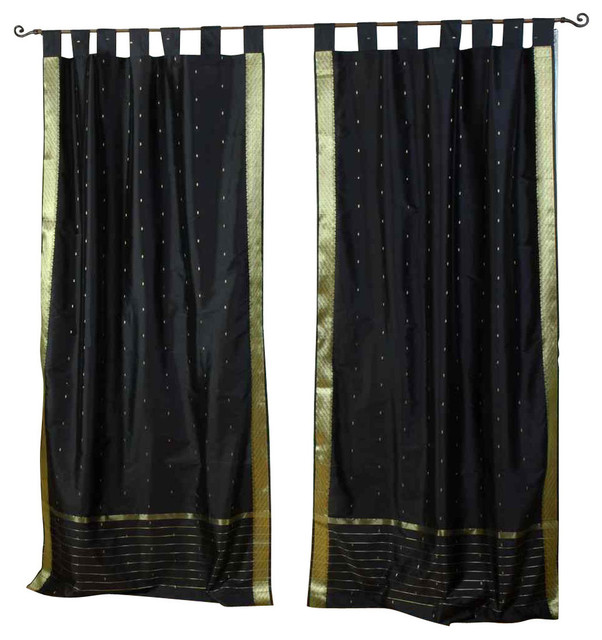 Black Tab Top Sheer Sari Curtain Drape And Panel Pair Traditional Curtains By Indian