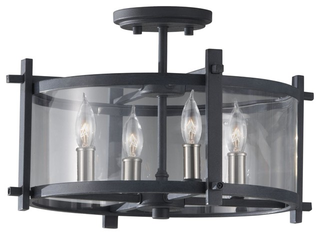 4 Light Standard Bulb Semi Flush Mount, Antique Forge Iron, Brushed Steel.