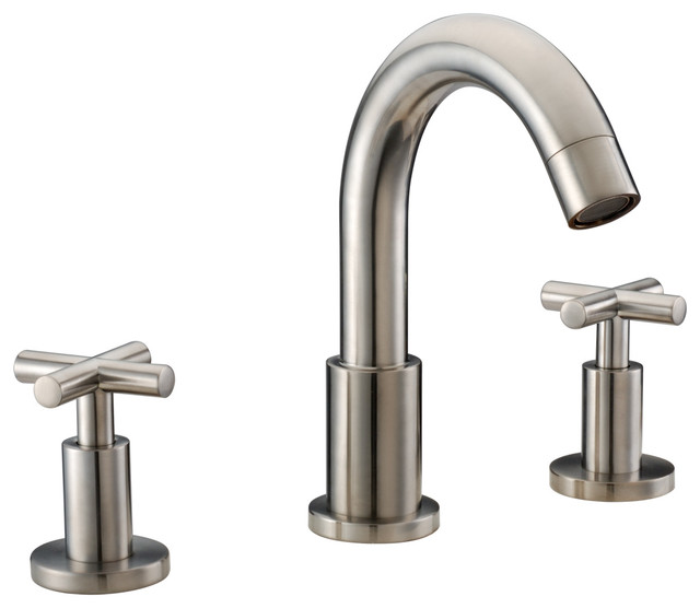 Dawn Lavatory Faucet With Cross Handles Brushed Nickel Finished Brushed Nickel Contemporary Bathroom