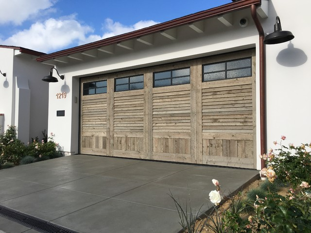 Reclaimed Wood Garage Doors - Modern Louver design with window door