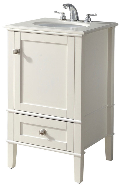 "21"" Single Bathroom Vanity Set With Off-White Marble Top."