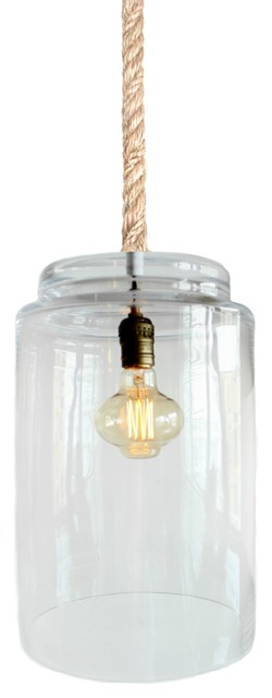Large Rope Light Hurricane Glass Pendant Light, Industrial Lighting, Medium.