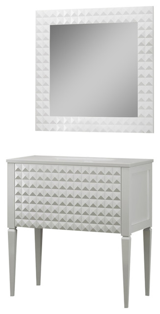 Diamond Bathroom Vanity and Wall Mirror, White Gloss, 32""