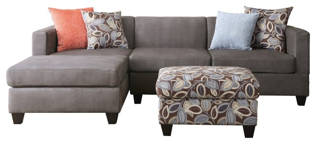 3-Piece Microsuede Reversible Sectional Sofa With Ottoman Leaf Pattern, Gray