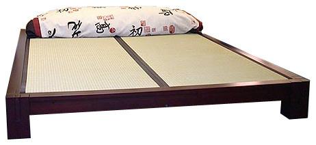 Tatami Platform Bed With Mats Dark Walnut Queen