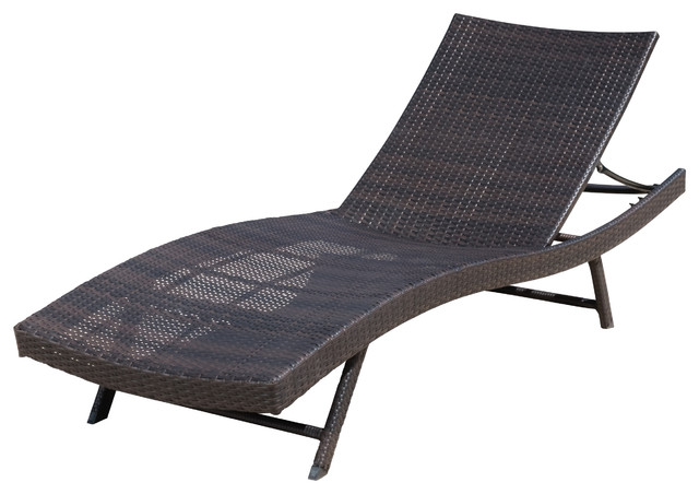 Eliana Outdoor Brown Wicker Chaise Lounge Chair, Single Contemporary Outdoor  Chaise Lounges