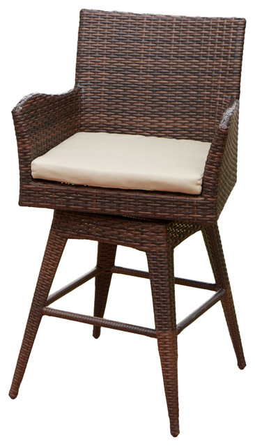 Royer Outdoor Wicker Brown Swivel Barstool