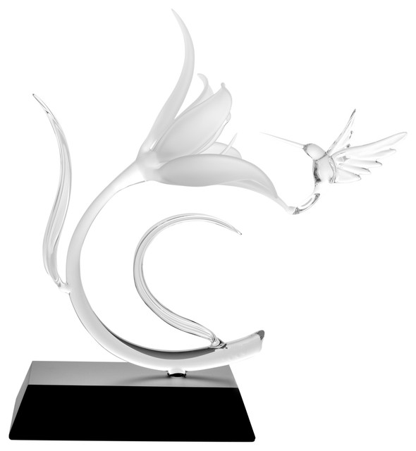Lily and Hummingbird, Glass Sculpture