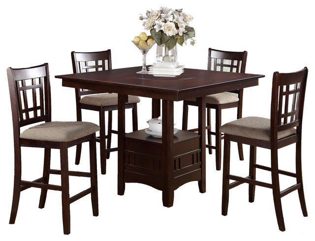 Perfect Rosy Brown 5 Piece Dining Set, Square Table And Fabric Seat Chair  Contemporary