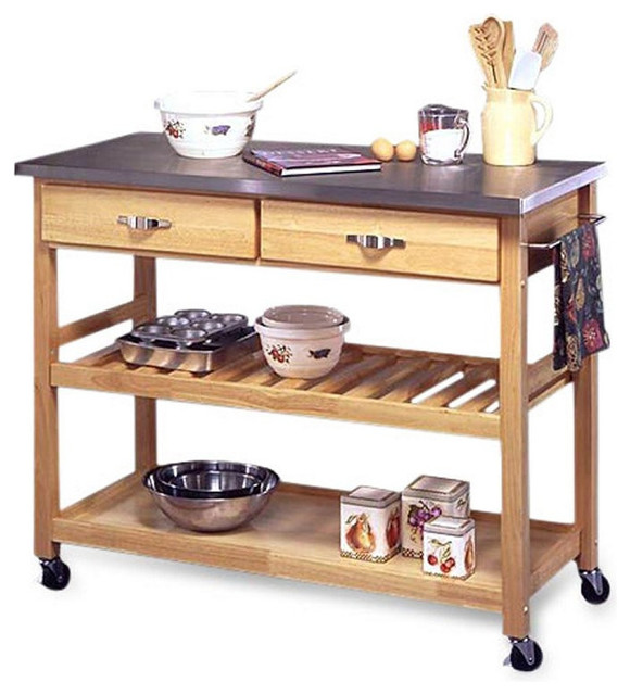 Kitchen Island Table On Wheels: Stainless Steel Top Kitchen Cart Utility Table With