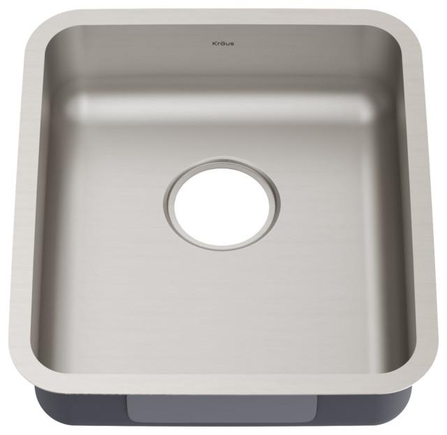 """Kraus Dex 17"""" Undermount Antibacterial Stainless Steel 1-Bowl Kitchen Sink, ADA"""