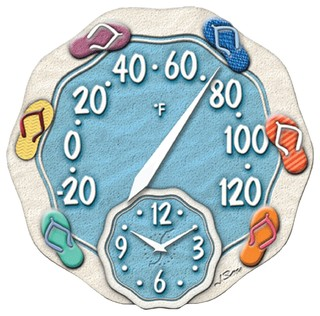 Springfield 12 Quot Sandals Thermometer With Clock Beach