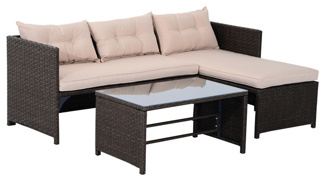 3 Piece Outdoor Rattan Wicker Sofa And Chaise Lounge Set Brown And