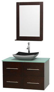 Centra 36 Espresso Single Vanity Green Glass Top Altair Black Granite