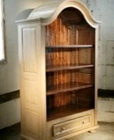 White European Arched Top Bookcase With Painted Interior