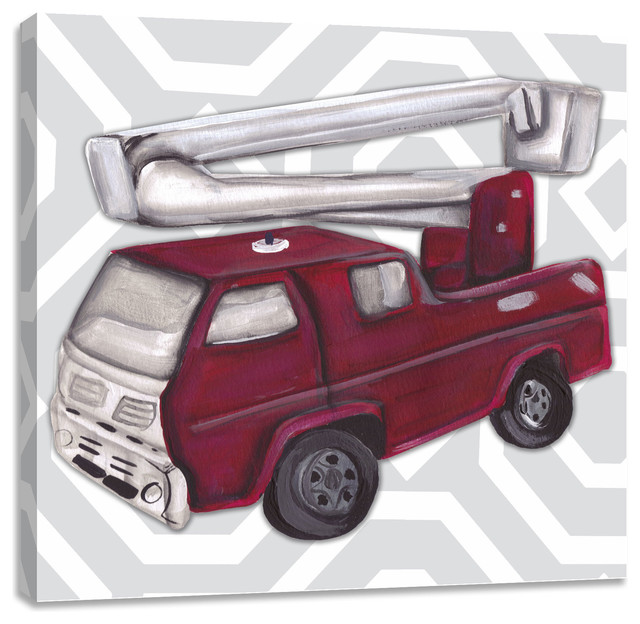 Vintage Fire Truck Wall Art - Contemporary - Kids Wall Decor - by ...
