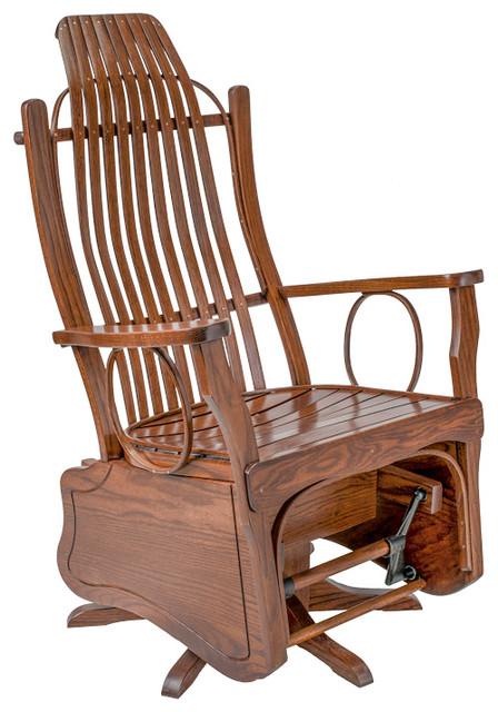 Rustic Bent Oak Swivel Glider, Michael's Cherry Stain by Furniture Barn USA