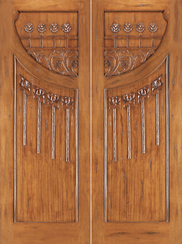 AN-2010-2 Mahogany Hand Carved 2-Panel Art Nouveau Double Door